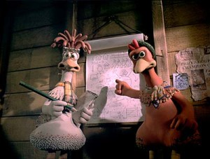 Ginger rallies her troops in Chicken Run